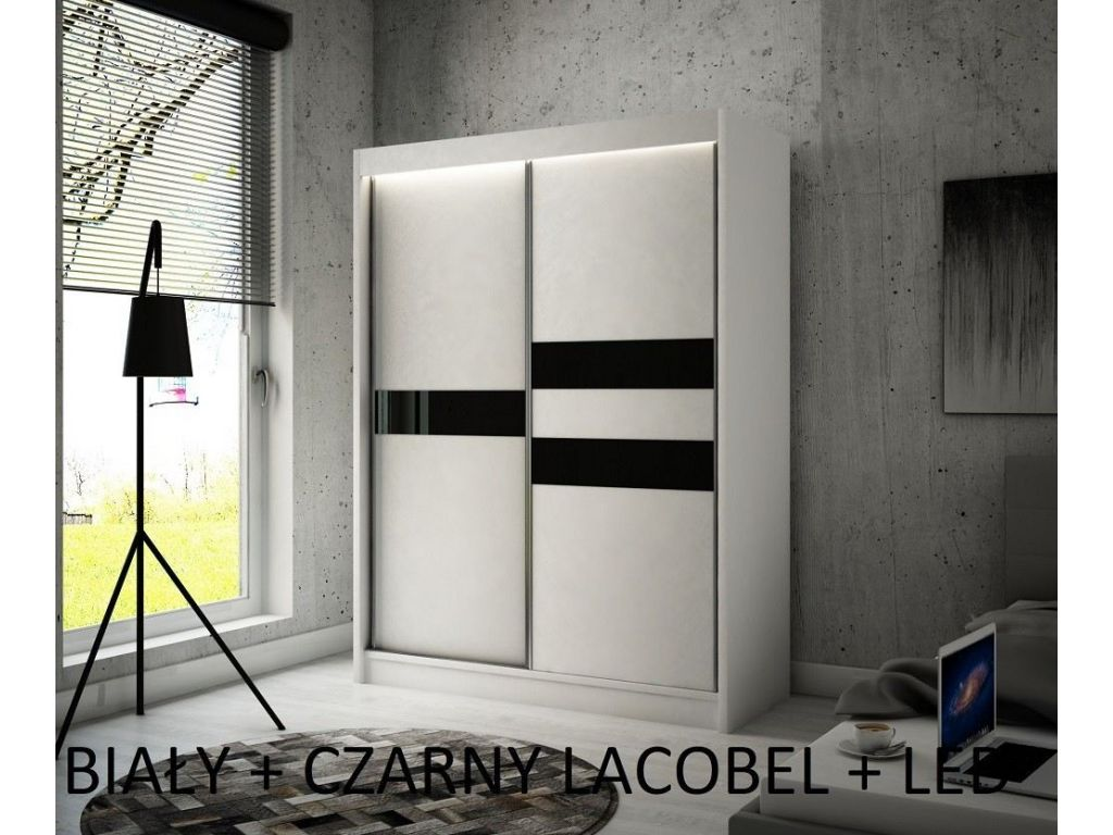 Szafa z drzwiami przesuwnymi Ara, szerokość 120 cm, oświetlenie  LED.