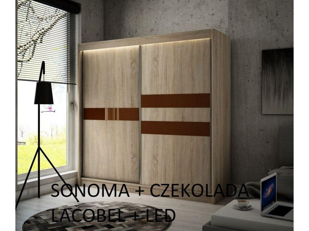 Szafa z drzwiami przesuwnymi Ara, szerokość 200 cm, oświetlenie  LED.
