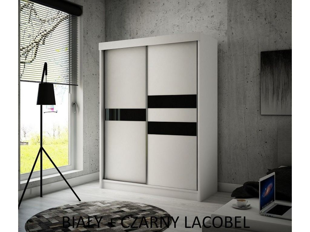 Szafa z drzwiami przesuwnymi Ara, szerokość 150 cm, bez oświetlenia LED.