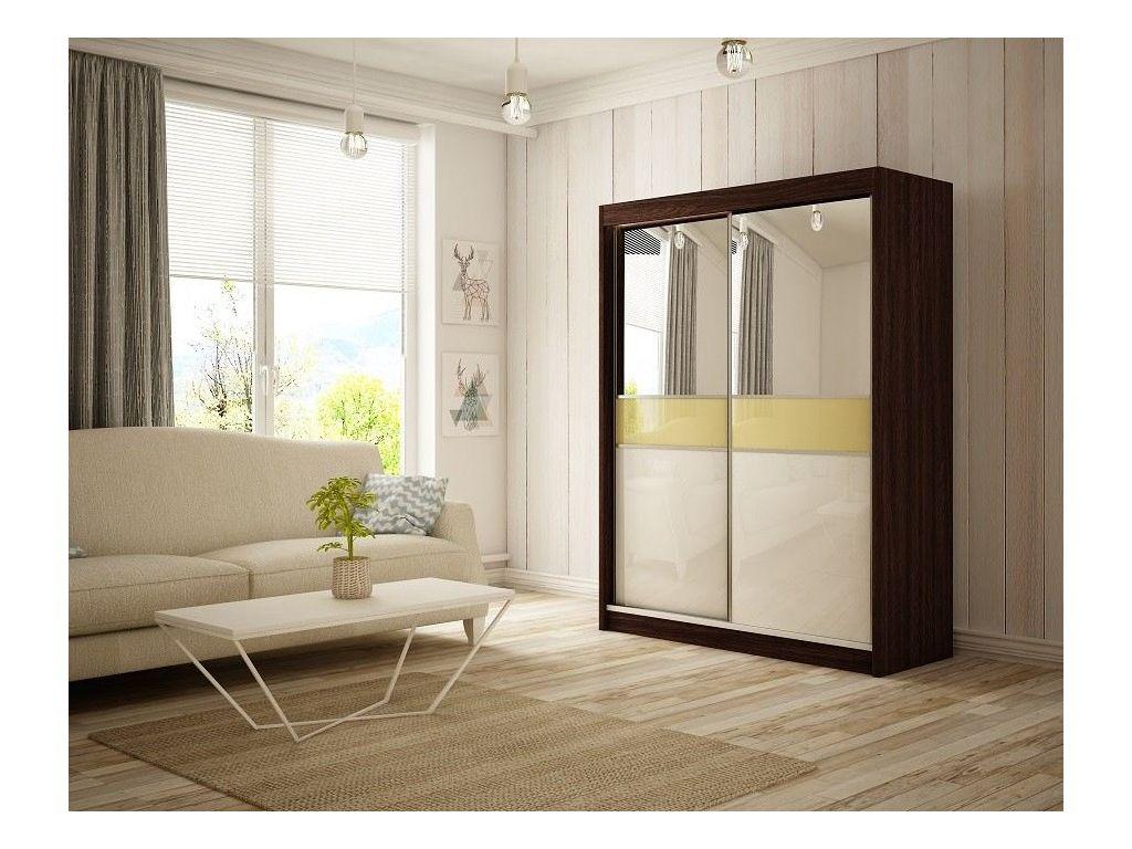 Szafa z drzwiami przesuwnymi Tina, szerokość 200 cm. Bez oświetlenia LED.
