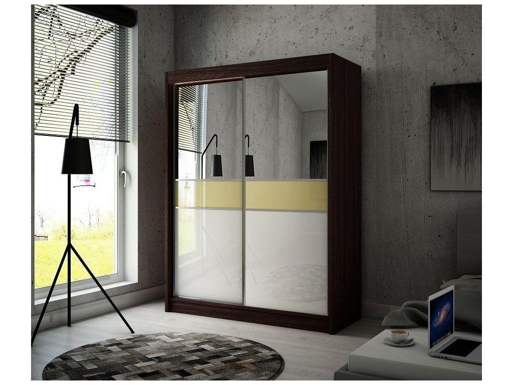 Szafa z drzwiami przesuwnymi Tina, szerokość 200 cm. Oświetlenie LED.