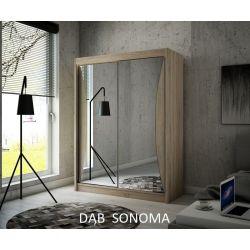 Szafa z drzwiami przesuwnymi Twist, szerokość 150 cm. Oświetlenie LED.