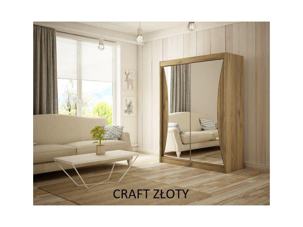 Szafa z drzwiami przesuwnymi Twist, szerokość 150 cm. Bez oświetlenia LED.