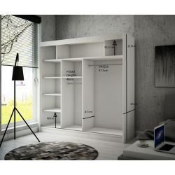 Szafa z drzwiami przesuwnymi Cama, szerokość 200 cm. Bez oświetlenia LED.