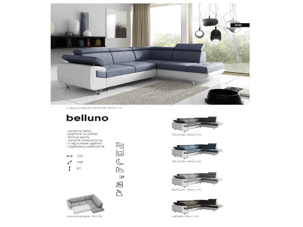 Narożnik BELLUNO, komfortowy, spanie 196 x 132 cm.