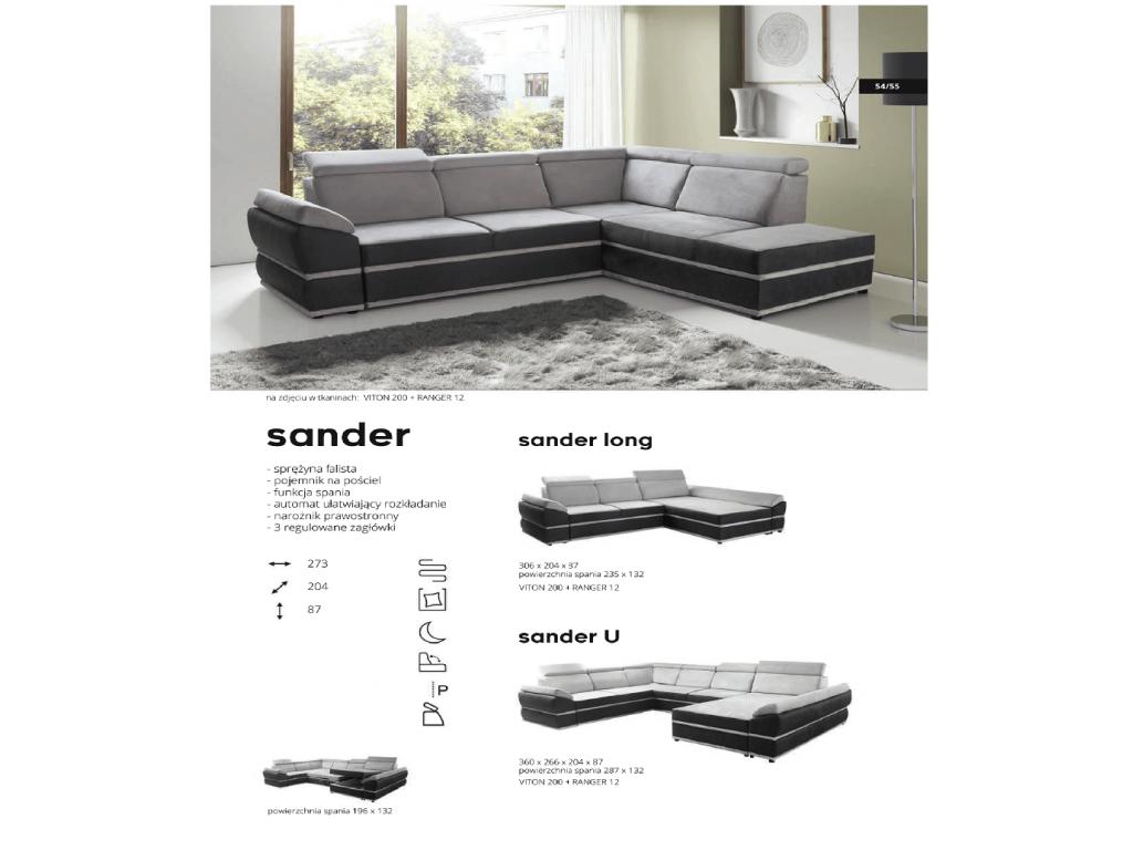 Narożnik prawy SANDER,duża powierzchnia spania 196 x 132 cm.