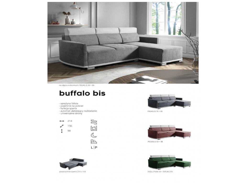 Narożnik Buffalo Bis, sprężyna falista, spanie 214 x 138 cm.