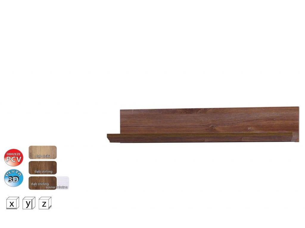 Półka wisząca PS 14 system Parys, szerokość 86 cm.