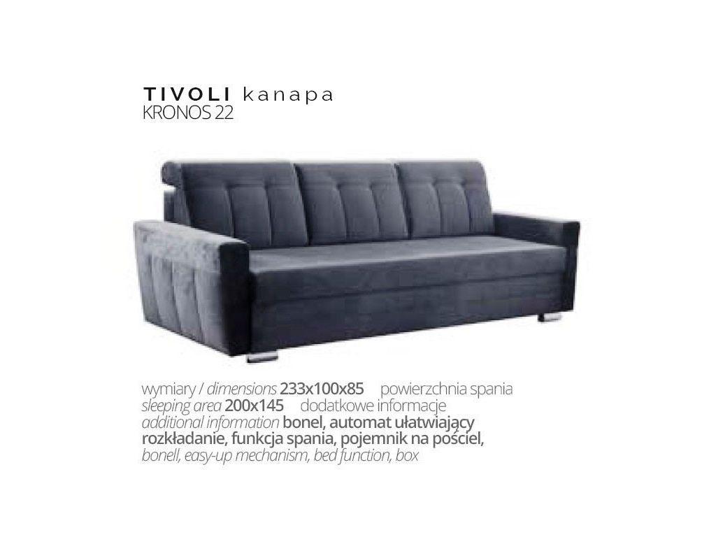 Kanapa TIVOLI, bonell, 200 x 145 cm powierzchnia spania.