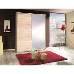 Szafa PENELOPA z drzwiami przeuwnymi i lustrem, szerokość 155 cm.