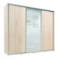 Szafa trzydrzwiowa SILVER z drzwiami przesuwnymi i lustrem, szerokość 255 cm.