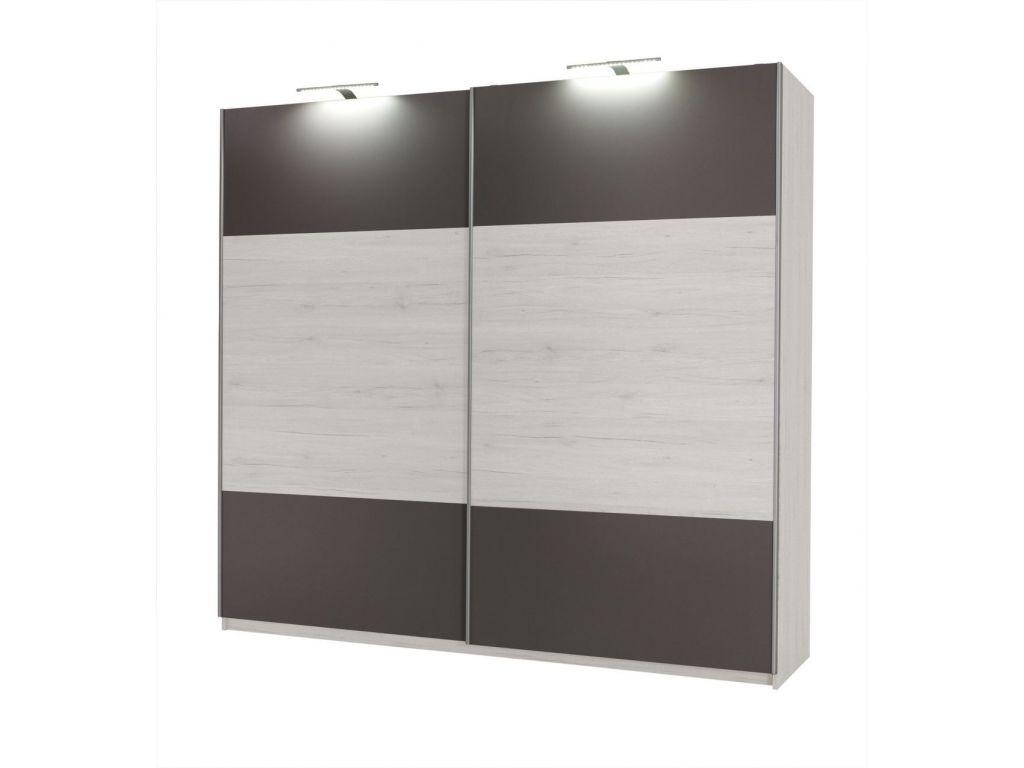 Szafa DIONE z przesuwnymi drzwiami i podświetleniem LED, szerokość 225 cm.