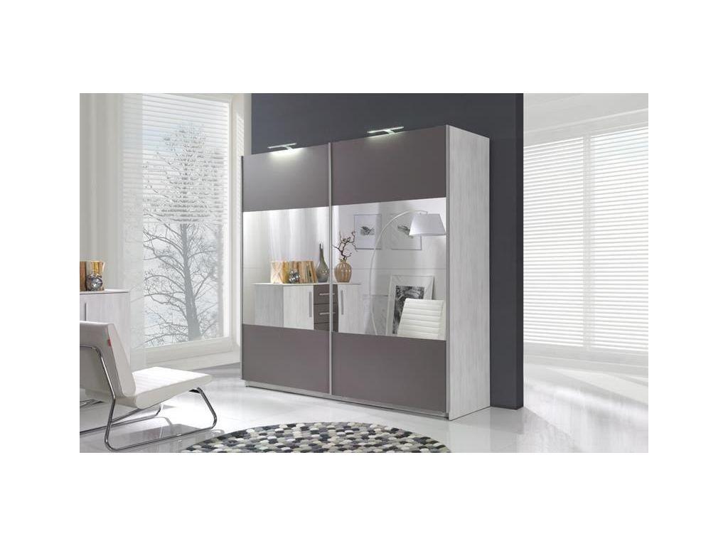 Szafa DIONE z przesuwnymi drzwiami, lustrem i podświetleniem LED, szerokość 225 cm.