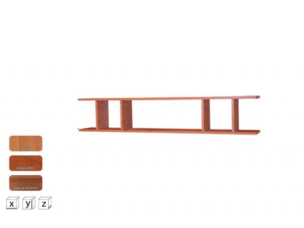 Półka wisząca OP 140, system OSKAR, szerokość 140 cm.