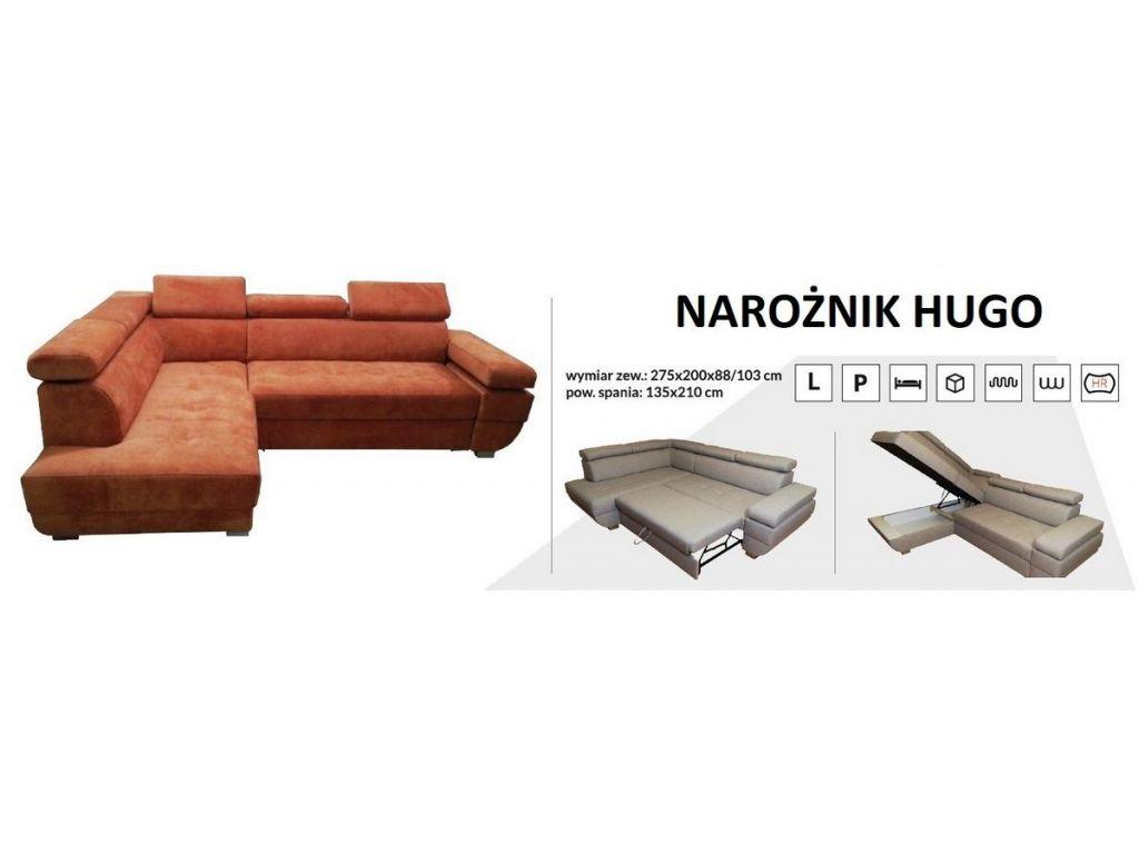 Duży, komfortowy narożnik HUGO, wymiar 275 x 190 cm.