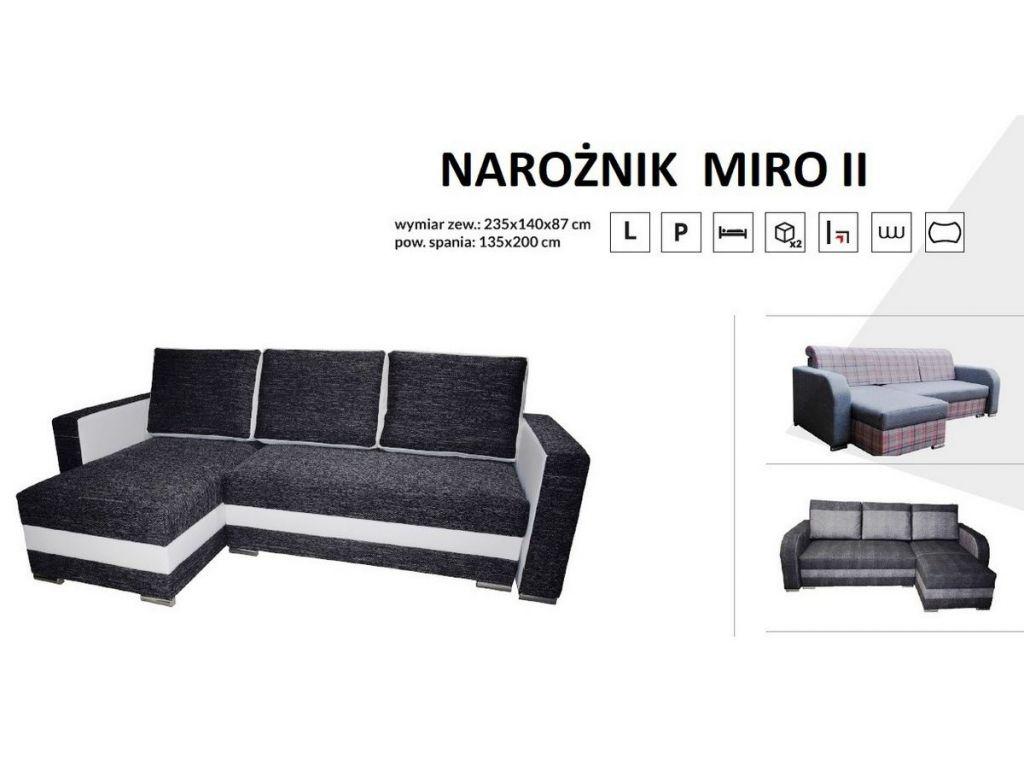 Narożnik MIRO II,sprężyna bonell, wmiar 235 x 140 cm.