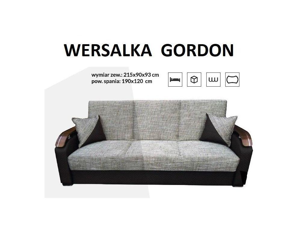 Wersalka GORDON, na sprężynie bonell. Powierzchnia spania 190 x 120 cm.