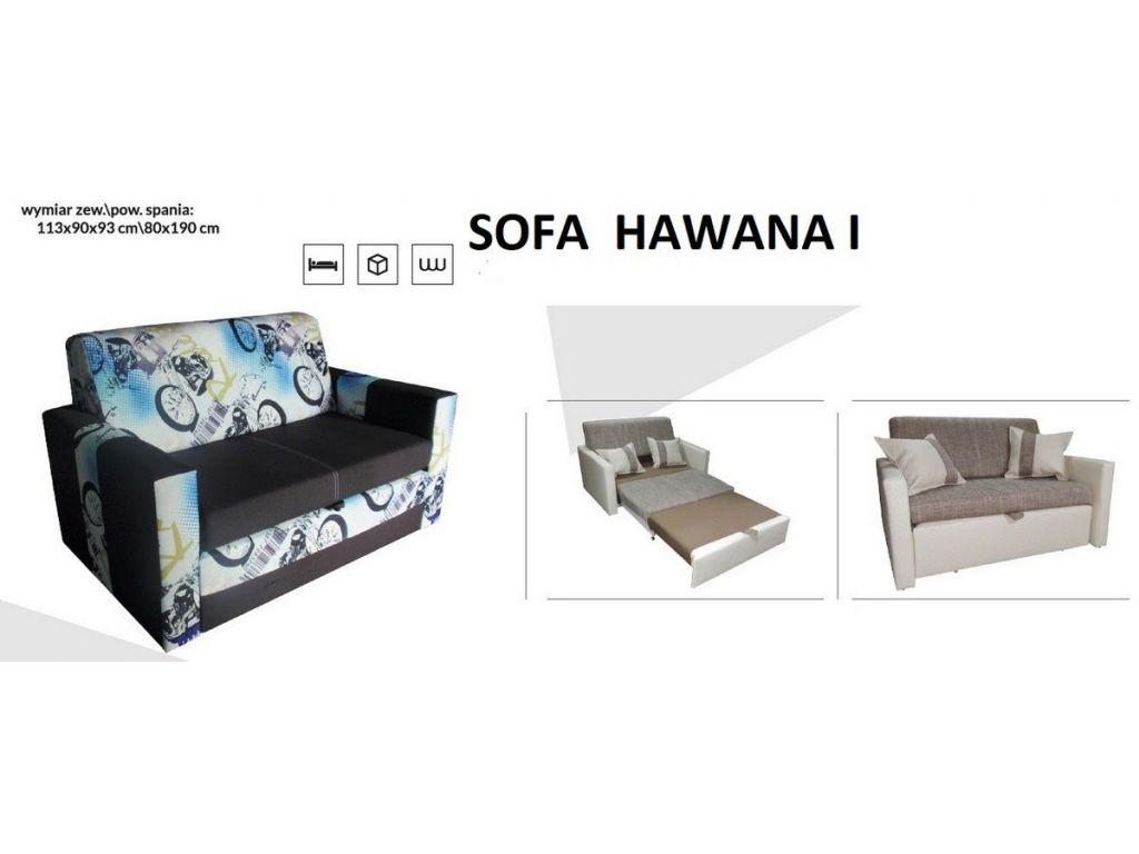Sofa HAWANA I, rozkładana jednoosobowa, powierzchnia spania 80 x 190 cm.