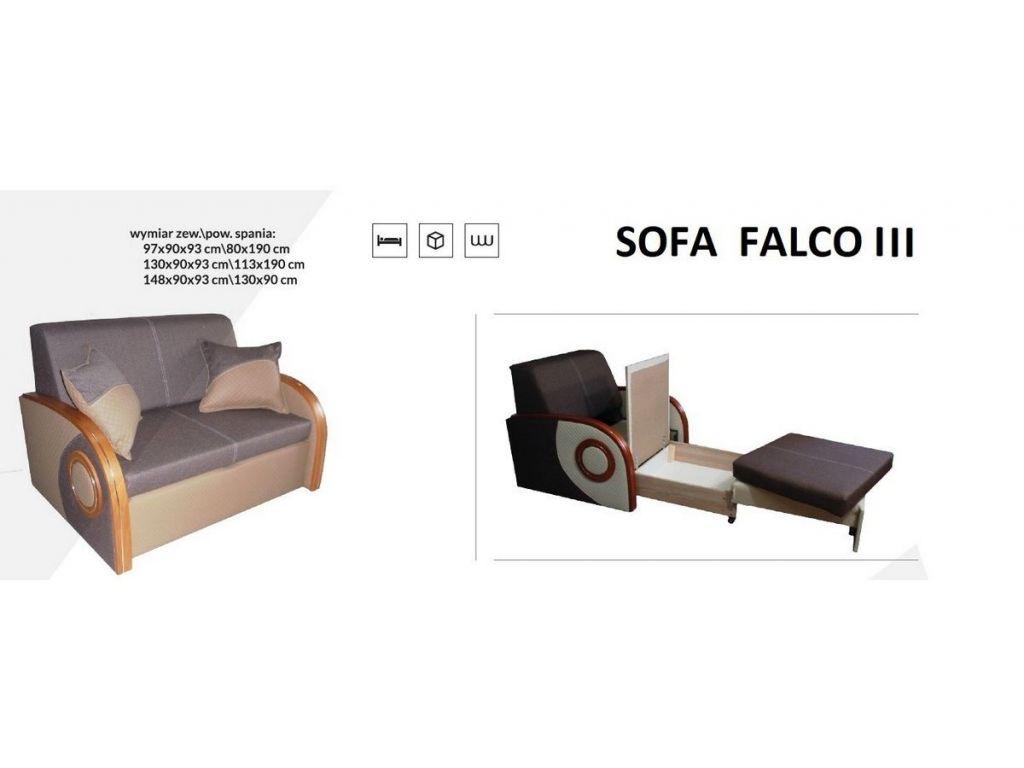 Sofa FALCO III, rozkładana trzyosobowa, powierzchnia spania 130 x 190 cm.