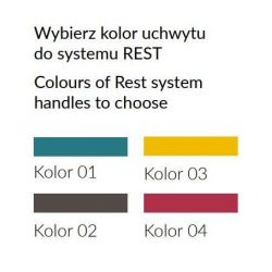 Regał słupek R09, system REST, szuflada, drzwi, szerokość 50 cm.