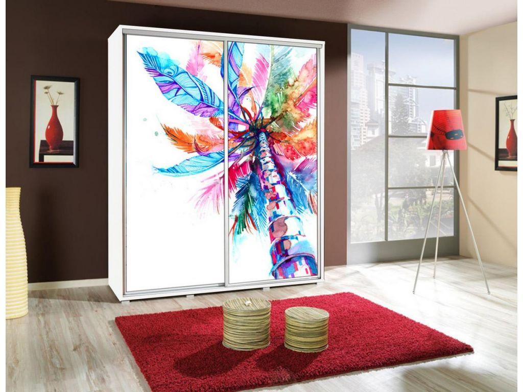 Szafa PENELOPA z drzwiami przesuwnymi i grafiką, szerokość 155 cm.