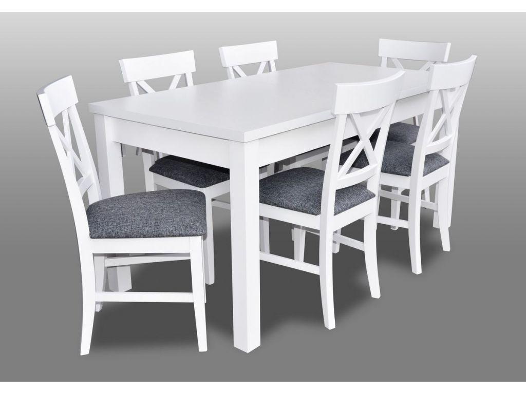 Zestaw do jadalni 21, kolor biały, stół S18-L wymiar 80 x 160 x 200 krzesło K64 6 szt.