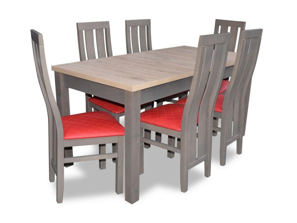 Zestaw do jadalni 25, stół S18-L wymiar 80 x 160 x 200 krzesło K69, 6 szt.