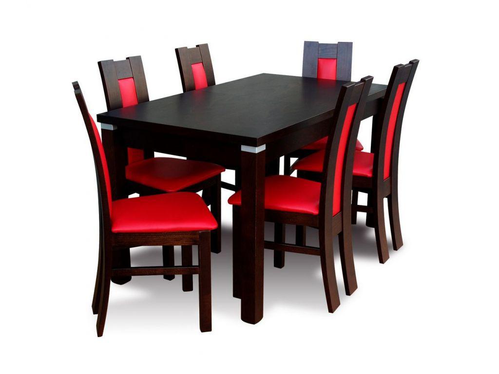 Zestaw do jadalni 57, stół S18-S, wymiar 80  x 140 x 180 , krzesło K41 ,6 szt.