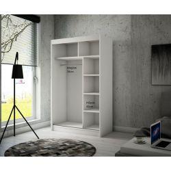 Szafa Brago z drzwiami przesuwnymi, 120 cm szerokość. Oświetlenie LED biały.