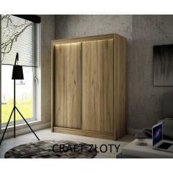 Szafa Brago z drzwiami przesuwnymi, 200 cm szerokość. Bez oświetlenia LED.