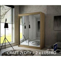 Szafa Hera z drzwiami przesuwnymi, 200 cm szerokość. Oświetlenie LED biały.