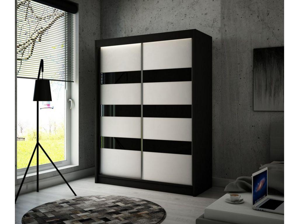 Szafa Tilo z drzwiami przesuwnymi, 120 cm szerokość. Oświetlenie LED biały.