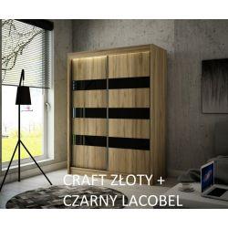 Szafa Tilo z drzwiami przesuwnymi, 150 cm szerokość. Oświetlenie LED biały.