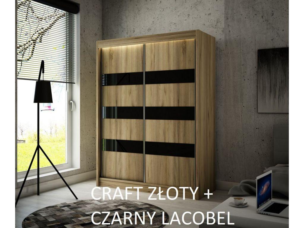 Szafa Tilo z drzwiami przesuwnymi, 200 cm szerokości. Bez oświetlenia LED.