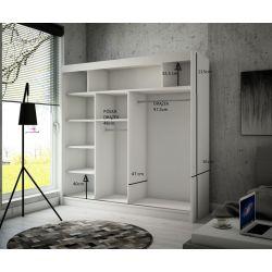 Szafa Tilo z drzwiami przesuwnymi, 200 cm szerokość. Oświetlenie LED biały.