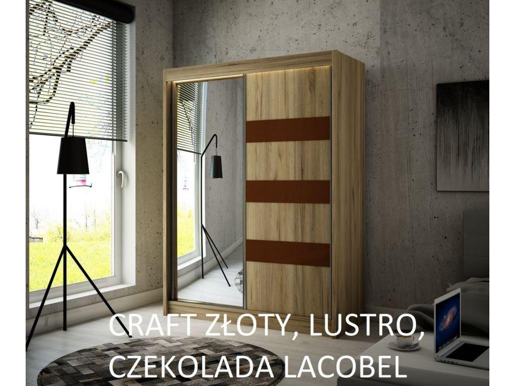 Szafa Like z drzwiami przesuwnymi, 150 cm szerokość. Oświetlenie LED.